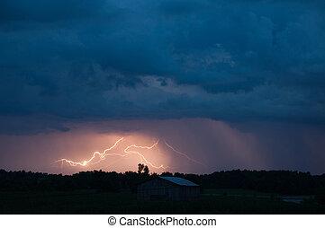 Crazy Lightening - Lightening strikes in a storm.