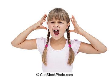 Crazy little girl on white background