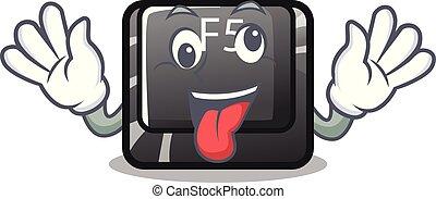 Crazy longest F5 button on cartoon keyboard vector illustration