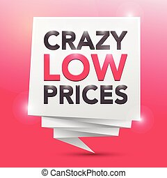 CRAZY LOW PRICES, poster design element