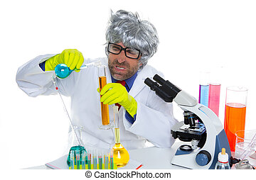 Crazy mad nerd scientist funny expression at lab