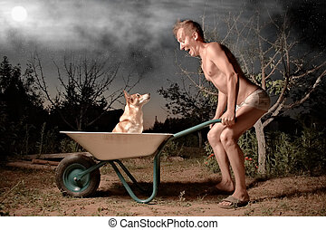 crazy man and his dog - crazy horticulturist and his dog