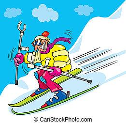 Crazy man on ski