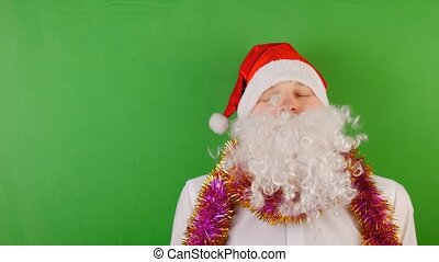 Crazy Man wearing Santa Claus's hat with white beard, New year 2019 and christmas, on green Chroma key
