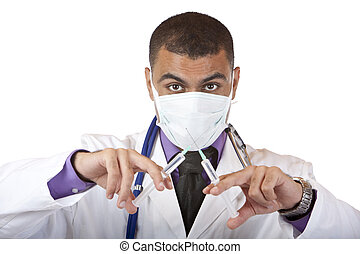 Crazy medical doctor with injection, stethoscope and mask