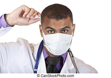 Crazy medical doctor with swine flu injection / immunization