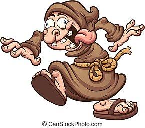 Crazy monk - Crazy cartoon monk. Vector clip art ...