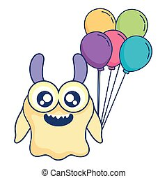 crazy monster with balloons helium character