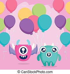 crazy monsters couple with balloons helium