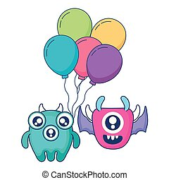 crazy monsters with balloons helium characters