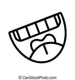 crazy mouth laughing line style icon
