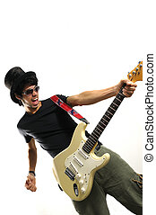 Crazy musician with guitar