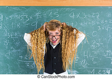 Crazy nerd blond student girl hold hair surprised