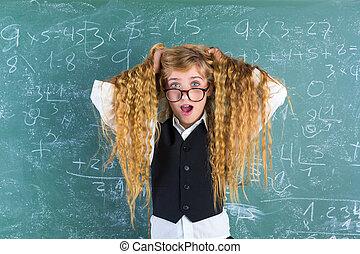 Crazy nerd blond student girl hold hair surprised
