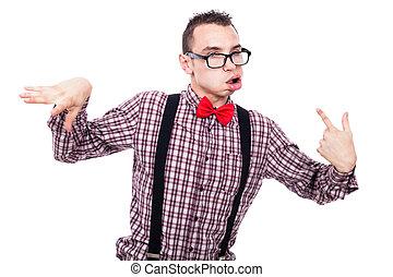 Crazy nerd grimacing - Crazy nerd man making funny faces,...