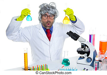 Crazy nerd scientist silly man on chemical laboratory