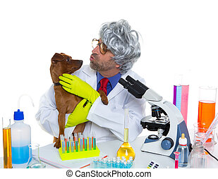 Crazy nerd scientist silly veterinary man with dog at lab -...