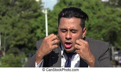 Crazy Neurotic Hispanic Business Man