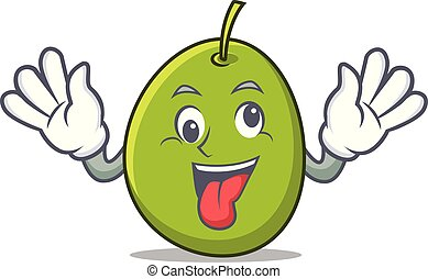 Crazy olive mascot cartoon style