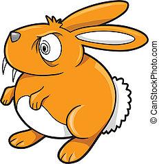 Crazy Orange Bunny Rabbit Vector