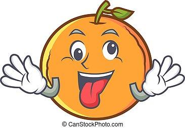 Crazy orange fruit cartoon character