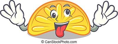 Crazy orange jelly candy mascot cartoon