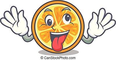 Crazy orange mascot cartoon style