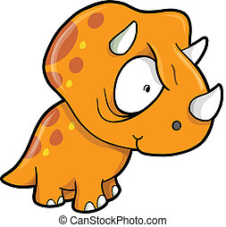 Crazy Orange Triceratops Dinosaur Vector