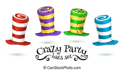 Crazy Party colorful striped carnival hats vector set...