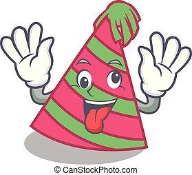 Crazy party hat mascot cartoon vector illustration