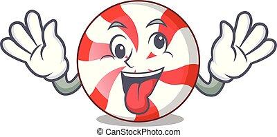 Crazy peppermint candy mascot cartoon