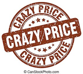 crazy price brown grunge stamp