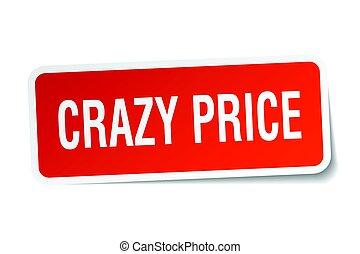 crazy price square sticker on white