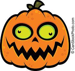 Crazy Pumpkin - Cartoon illustration of a crazy pumpkin jack...