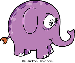 Crazy Purple Elephant Animal Vector