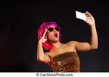 crazy purple wig girl selfie smartphone fun glasses - crazy ...