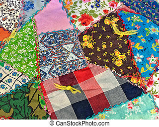 crazy quilt with yarn knot
