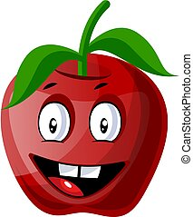 Crazy red apple illustration vector on white background