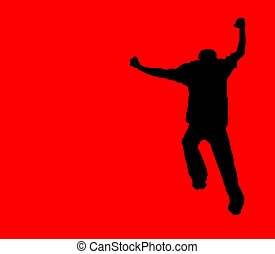 crazy running silhouette - silhouette of a crazy dancing...