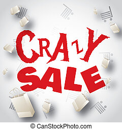 Crazy sale white red design template