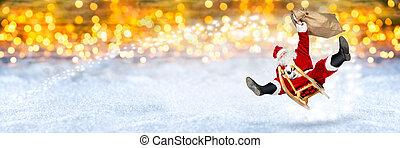 crazy santa claus flying on his sleigh snow golden bokeh background