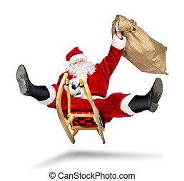 crazy santa claus sleigh funny crazy christmas gift delivery...