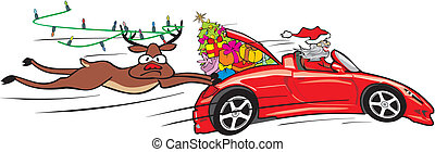 crazy santa in convertible