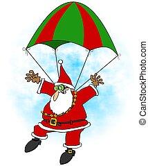 Crazy Santa skydiver - This illustration depicts Santa Claus...
