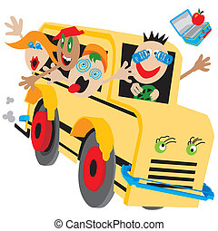 Wacky bus on a wild ride too or from school, field trip or camp.