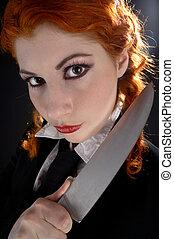 crazy schoolgirl with knife #2