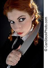 crazy schoolgirl with knife - portrait of crazy schoolgirl...