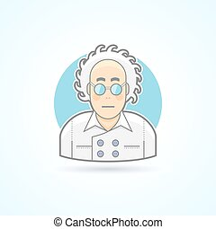 Crazy scientist look, nerd in glasses and overall icon. Avatar and person illustration. Flat colored outlined style.