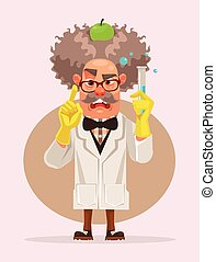 Crazy scientist man character holding flask. Vector flat cartoon illustration