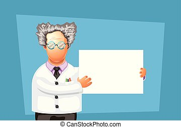 crazy scientist with board